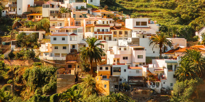 Houses on a moutain side in Spain.